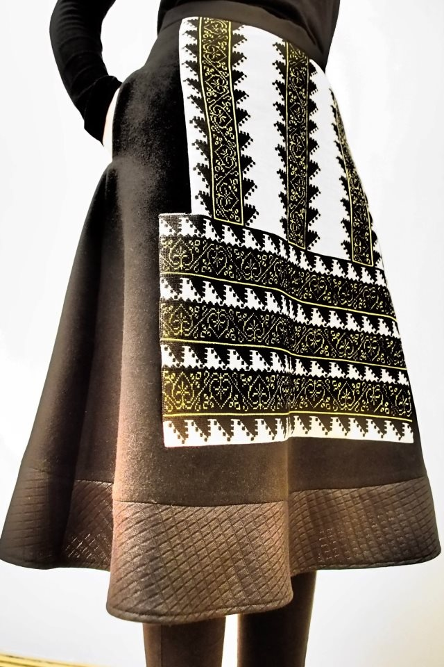 Adrian Oianu skirt from The Romanian T- shirt collection- a wonderful trip in time with authentic embroideries taken from the traditional Romanian shirts that inspired Matisse when painting his La blouse roumaine or designers like Tom Ford. #fashion #romania