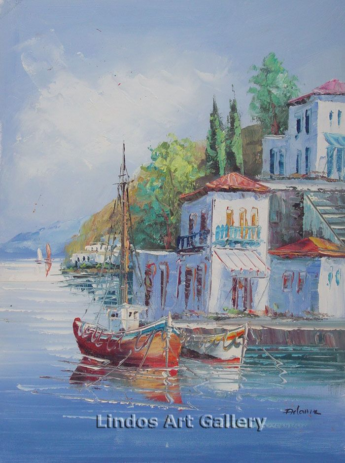 Boats and Houses by the Sea Oil Painting