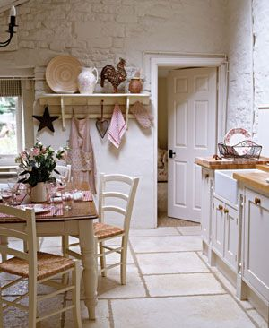 romantic country kitchen...could paint faux bricks on wall