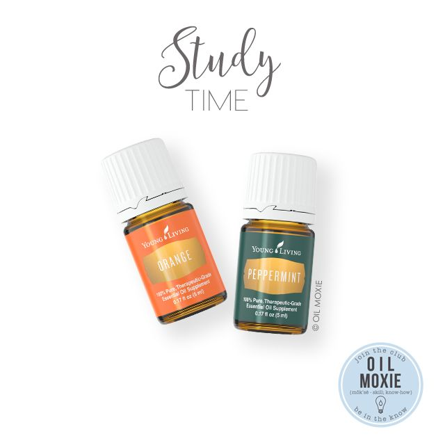 Study Time!   Essential Oil Recipe   Orange and Peppermint can help promote focus. Diffuse 4 drops each of Orange and Peppermint, put in a diffuser pendant necklace, or make a roll-on: 5-10 drops each Orange and Peppermint in a 10ml roll-on bottle, fill the rest with carrier. Enjoy!!