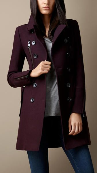 | Burberry Red Double Wool Twill Zip Detail Coat ||