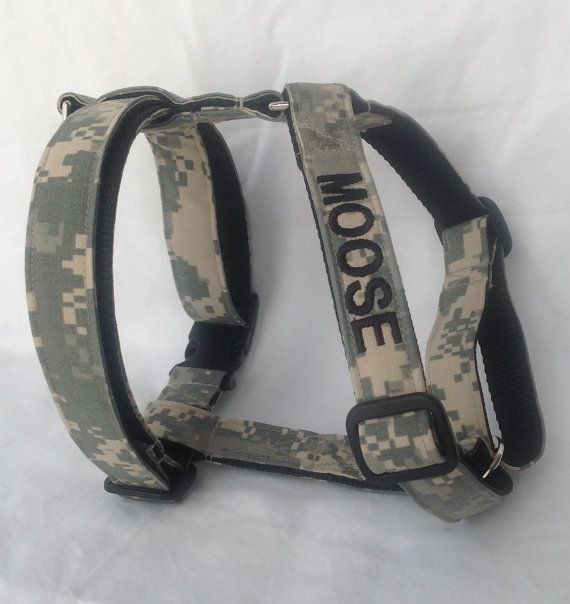 Military Adjustable Dog Harness Embroidered W/Dogs Name - Availlable In Army, Air Force And Marines - Size S, M, L, XL
