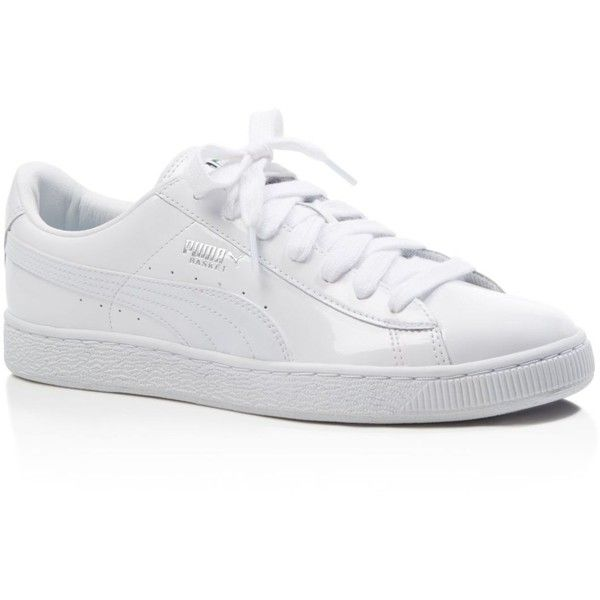 Puma Women's Basketball Patent Lace Up Sneakers (£46) ❤ liked on Polyvore featuring shoes, sneakers, white, lacing sneakers, white trainers, lace up shoes, patent leather sneakers and patent shoes