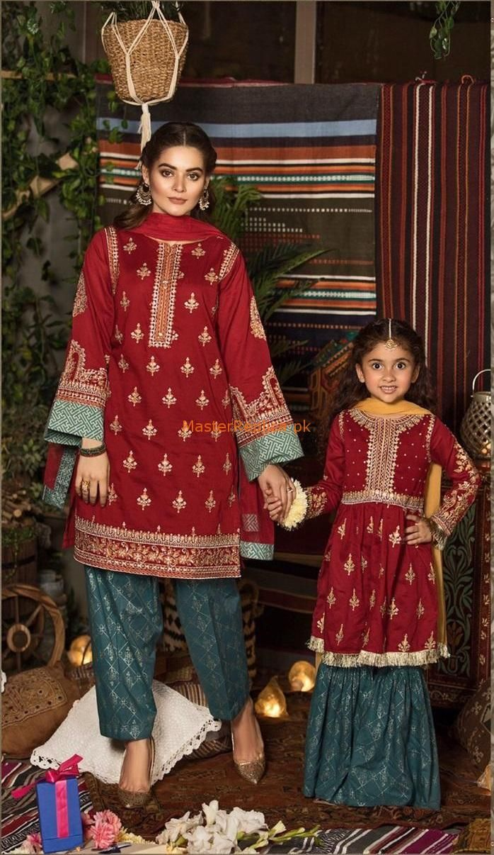 Stylish Maria B Lawn Master Replica 2019 Mother Daughter Matching Outfits Mom Daughter Outfits Baby Dress Design