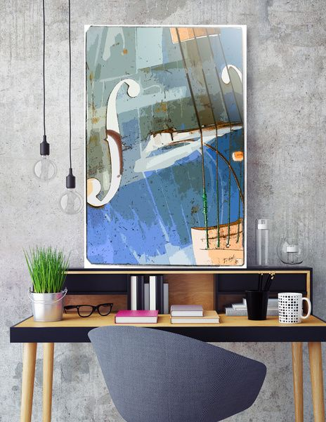 Jazz Print,  Discover «Double bass», Numbered Edition Aluminum Print by Konstantin Sevostyanov  - Curioos