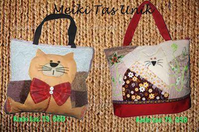 Tas handmade Seri Kucing      Koleksi tas handmade ukuran besar, dengan aplikasi yang unik & etnik.        *Untuk order atau info selanjutnya, hub: 0812-9850-8811/0858-8537-8811 add pin: 315BE3EC