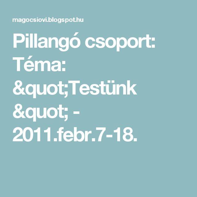 """Pillangó csoport: Téma: """"Testünk """" - 2011.febr.7-18."""