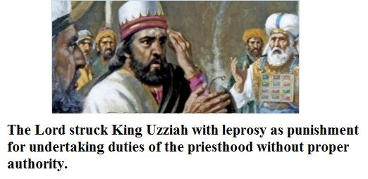 The scriptures record a case when an unauthorized person, King Uzziah of Judah, a man who did not have the priesthood, sought to perform the functions of the priesthood. Description from loyaltotheword.synthasite.com. I searched for this on bing.com/images