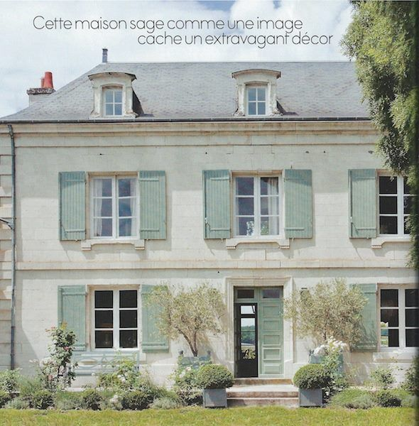 French Manor Beautiful Light Stucco Sloped Roof And Blue Shutters Gorgeous Country