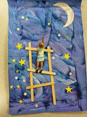 """Adorable art project for kids! Kids make the moon and stars plus """"ladder"""" then you take a photo of them reaching and let them paste it on the ladder."""