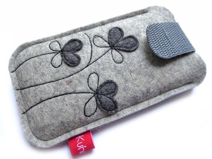 """Handytasche """"Petite Fleur"""" grau (iPhone 5) von Kuhrinna auf DaWanda.com 20"""