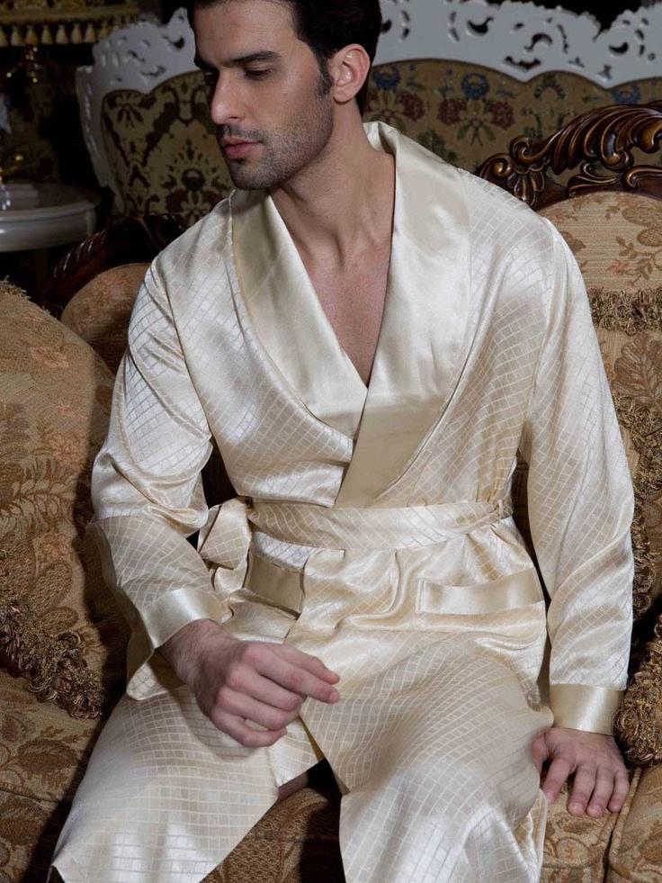 Naked men in bathrobes