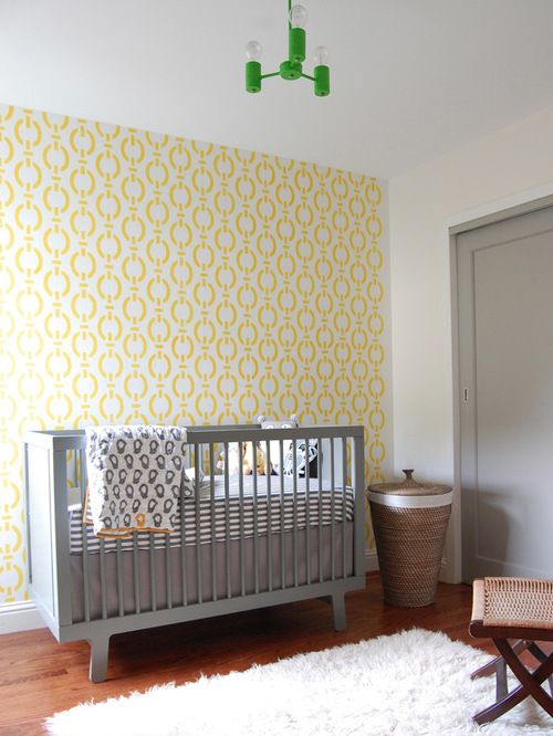 Gender Neutral Modern Nursery With A Gray And Yellow Color Scheme   Baby Nursery  Ideas U0026