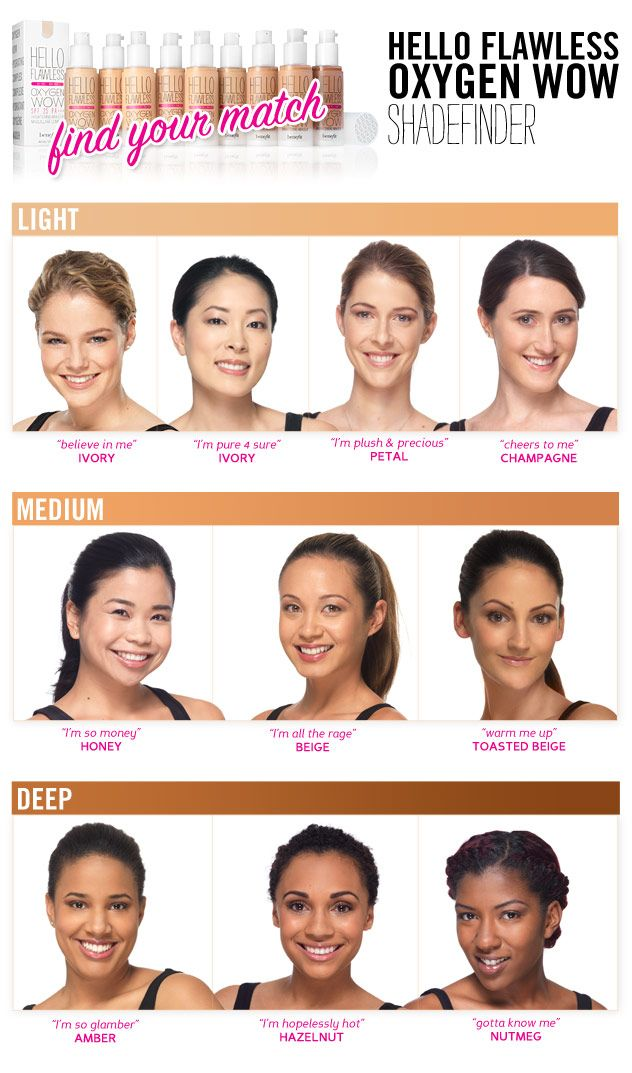 Find your foundation shade match with the hello flawless oxygen wow shade finder. 10 shades total.