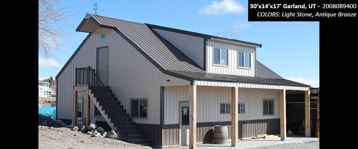 30' x 14' 17' Cleary Residential Building | Colors: Light Stone, Antique Bronze