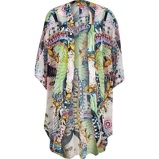 Blue abstract print cocoon kimono #riverisland