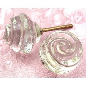 Decorative Vintage Crystal Glass Knobs ~ #IK56 ~ Lot Of 2 ~ Glass Drawer  Knobs