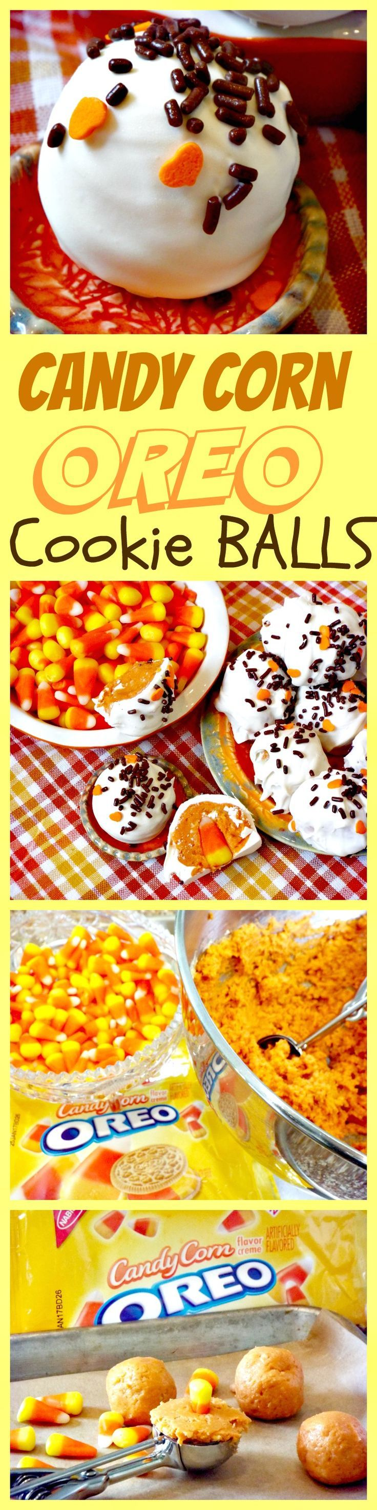 NO BAKE Candy Corn Oreo Cookie Balls are the perfect Halloween treat for the entire family.