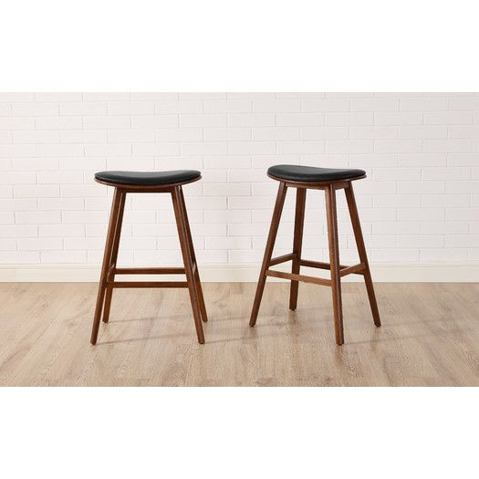 exotic solid bamboo bar stool with top grain leather upholstered seat set of the home depot