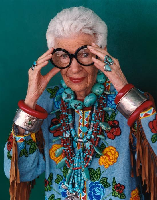 Iris Apfel via Peabody Essex Museum: A irreverent and iconic style maker, the spirited Apfel is known for her juxtaposition of haute couture with costume jewelry. #Iris_Apfel #PEM
