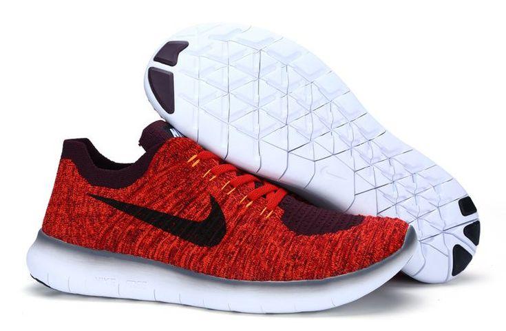 chaussure de sport nike free nike free rn noir et rouge flyknit