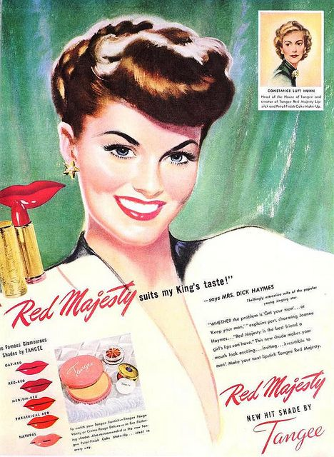 Tangee Lipstick ad, May 1947. vintage #1940s #makeup #beauty