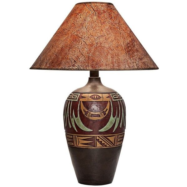 Universal Lighting and Decor Marigold West Handcrafted Dark Southwest... ($190) ❤ liked on Polyvore featuring home, lighting, table lamps, lamps, brown, southwestern table lamps, southwestern lighting, universal lighting and decor, handmade lamps and brown shades