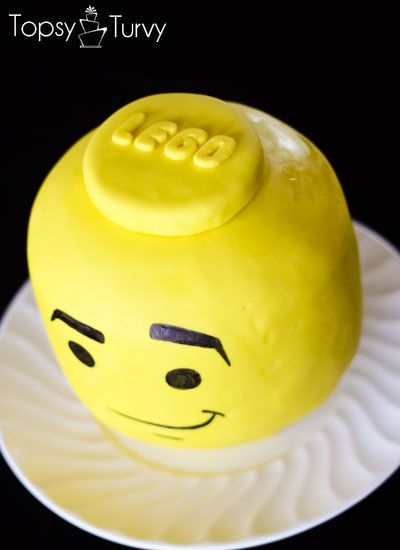 a full tutorial for carving and creating your own lego head cake perfect for birthday parties