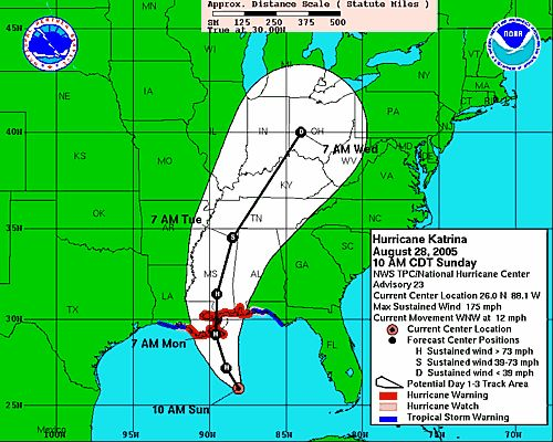 "The National Hurricane Center describes Katrina as a ""potentially catastrophic"" hurricane. Description from mholloway63.wordpress.com. I searched for this on bing.com/images"