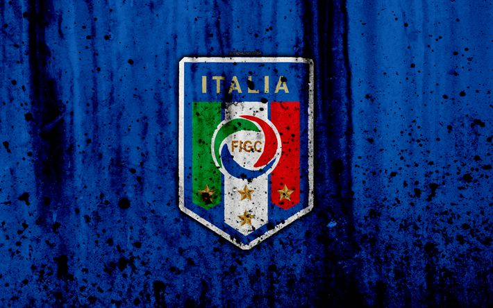 Download wallpapers Italy national football team, 4k, logo, grunge, Europe, football, stone texture, soccer, Italy, European national teams