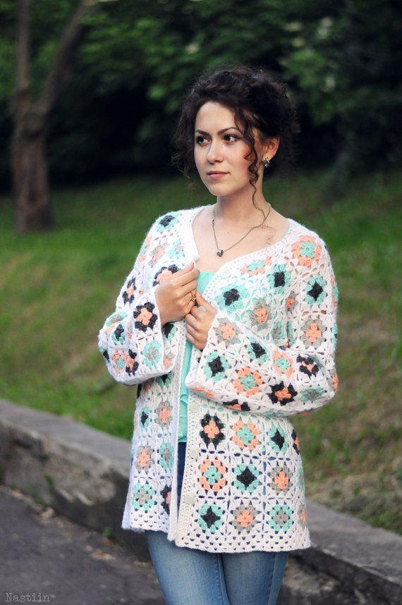 Crochet granny square cardigan White crochet cardigan by Nastiin