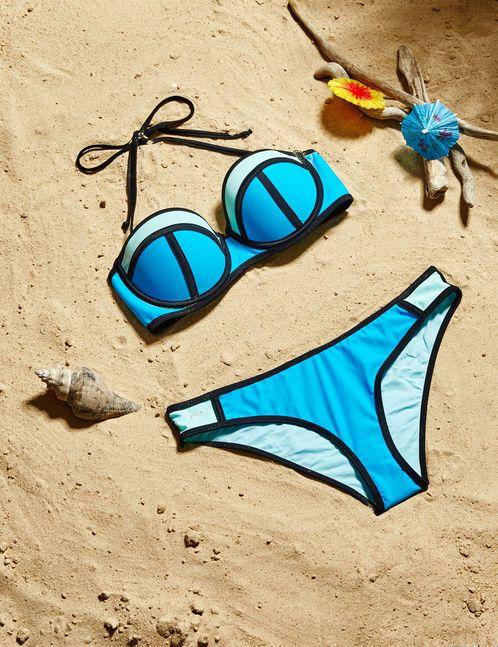 maillot de bain bicolore bleu et turquoise clair