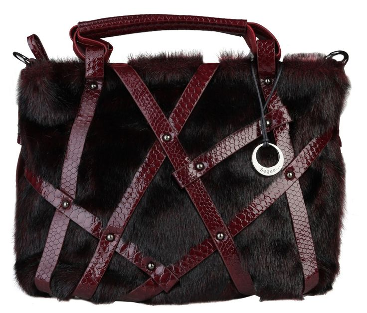 Dámská kabelka Segue, s kožešinkou - tmavě červená | obujsi.cz - dámská, pánská, dětská obuv a boty online, kabelky, módní doplňky
