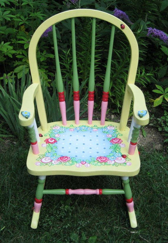 Hand Painted Child's Amish Rocker by MaGooseMercantile on Etsy, $225.00