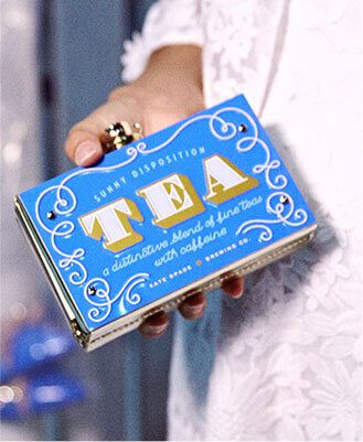 "A ""tea bag""...couldn't resist the humor in that. So cute. Sunny Disposition Kate Spade New York clutch."