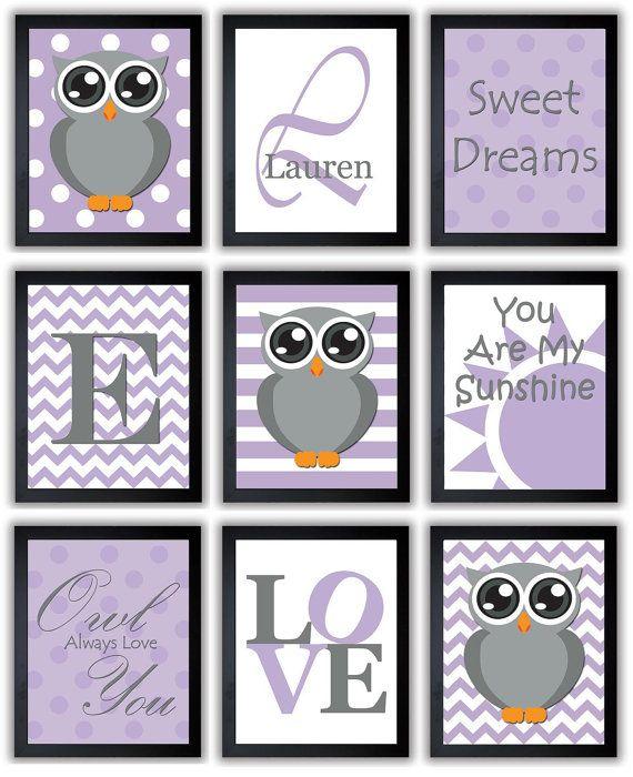 Owl Purple Grey Gray Nursery Art Mix Match Nursery Print Polka Dots Baby Art Baby Animal Pink Print Child Kids Wall Art Nursery Decor