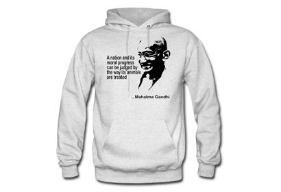 """GANDHI ANIMAL RIGHTS HOODIE -  Mahatma Gandhi once said, """"The greatness of a nation and its moral progress can be judged by the way its animals are treated."""" Help your cruelty-free friends spread the message of kindness and compassion with this warm hoodie. It comes in several sizes and colours to suit anyone on your list.     at SpreadShirt"""