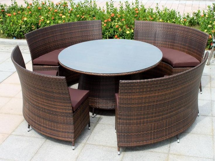 Wonderful Brown Wood Unique Design Furniture Resin Wicker Patio Round Table  Sofa Wicker Rattan Brown Seat Part 67