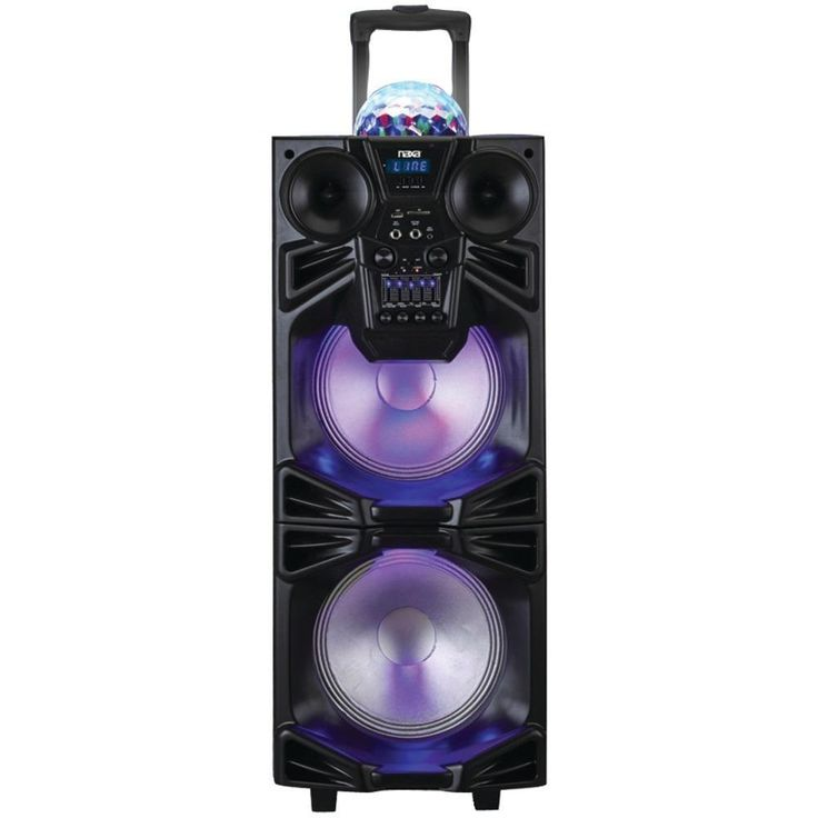 NAXA NDS-1050 Dual 10 Portable Bluetooth(R) DJ-PA Speaker Stack with Disco Dome Light