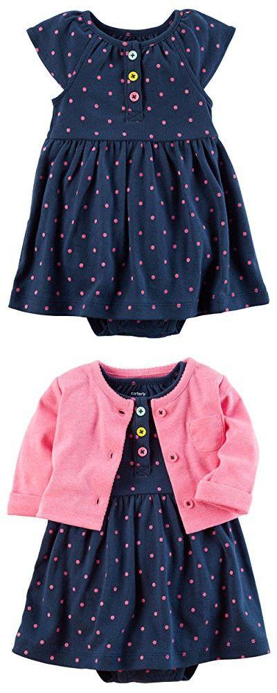 Carter's Baby Girls Dress Set, Pink/Navy Polka, 3M