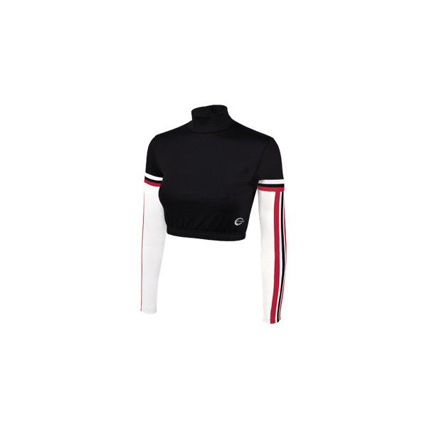 Tri-Color Rally Bodyliner Cropped Top ❤ liked on Polyvore featuring tops, cheer, sports, sports tops, multi colored bodysuit, sports crop tops, colorful crop tops and sport top