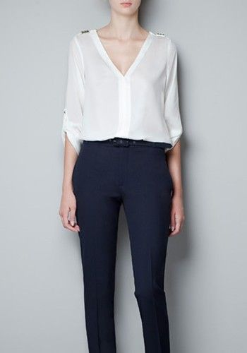 ++ White Rivet V-neck Long Sleeve Chiffon Blouse