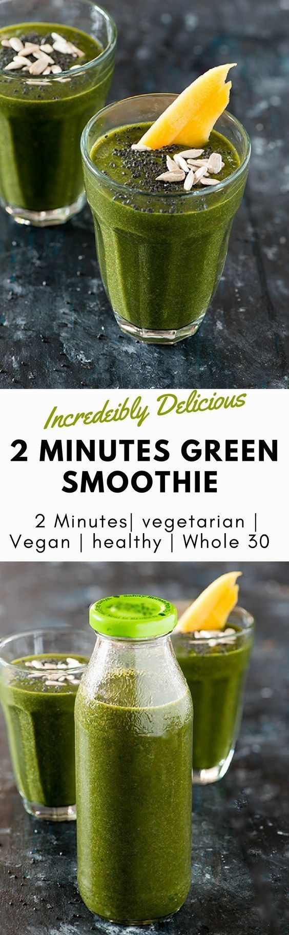 This Green Smoothie recipe is perfect start of a busy morning. All it takes is 2 Minutes to blend it if you have already prepped your ingredients during weekend meal prep. If you are planning a green smoothie cleanse or Green smoothie detox or whole 30 this is perfect vegetable smoothie recipe for you