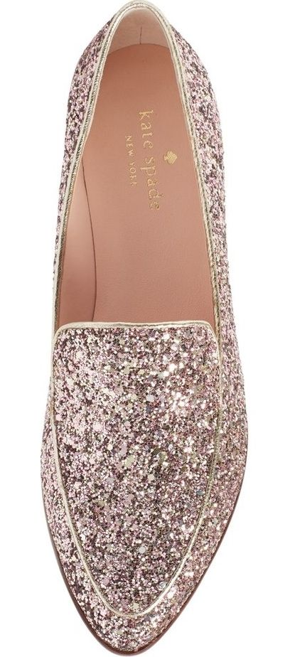 """A generous dusting of glitter gives new meaning to the phrase """"twinkle toes"""" in this playfully chic Kate Spade loafer crafted with a flattering almond-shaped toe."""