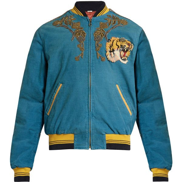 Gucci Dragon-embroidered corduroy bomber jacket ($6,950) ❤ liked on Polyvore featuring men's fashion, men's clothing, men's outerwear, men's jackets, blue, men's embroidered bomber jacket, mens corduroy jacket and gucci mens jacket