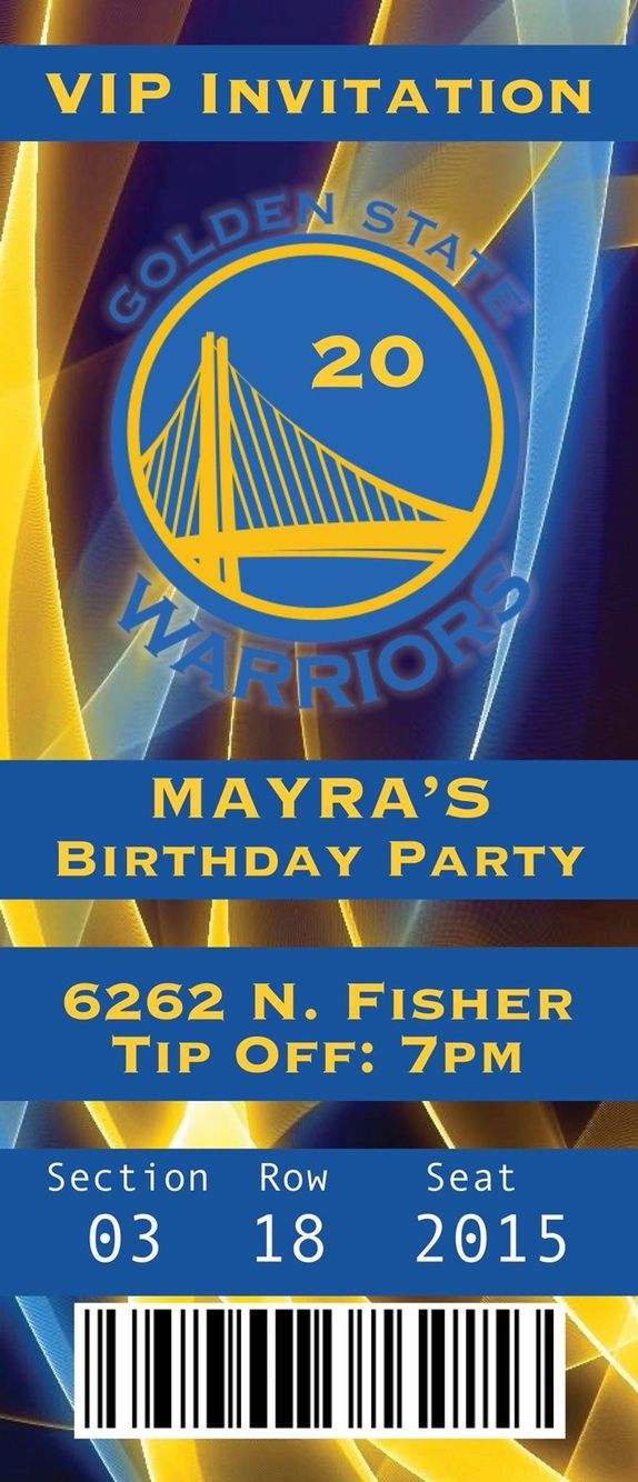 Golden state warriors birthday invitation ticket.