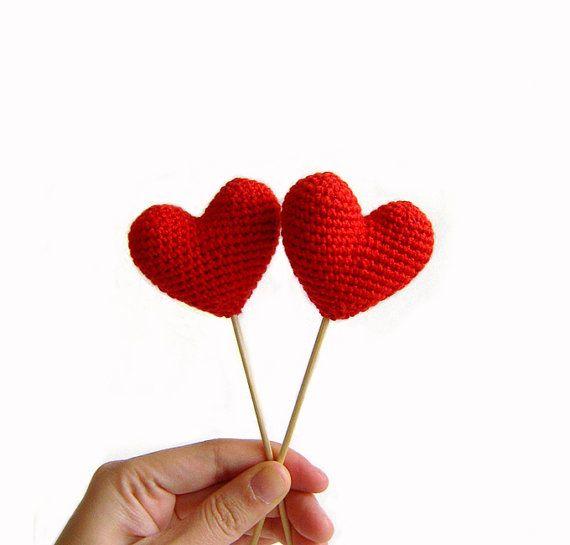 Amigurumi Crochet Red Heart Set of 2 by naryatoys on Etsy, $10.00