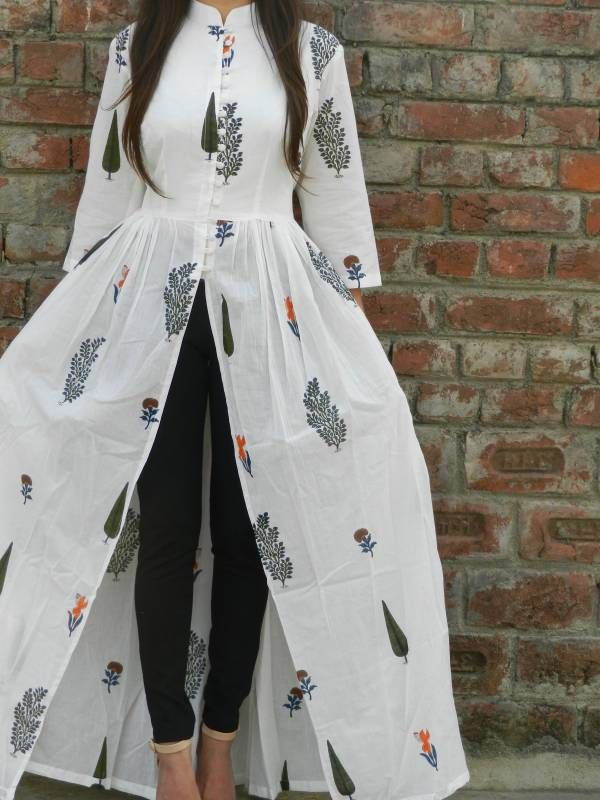 White multi block printed cape  |  Shop now: www.thesecretlabel.com