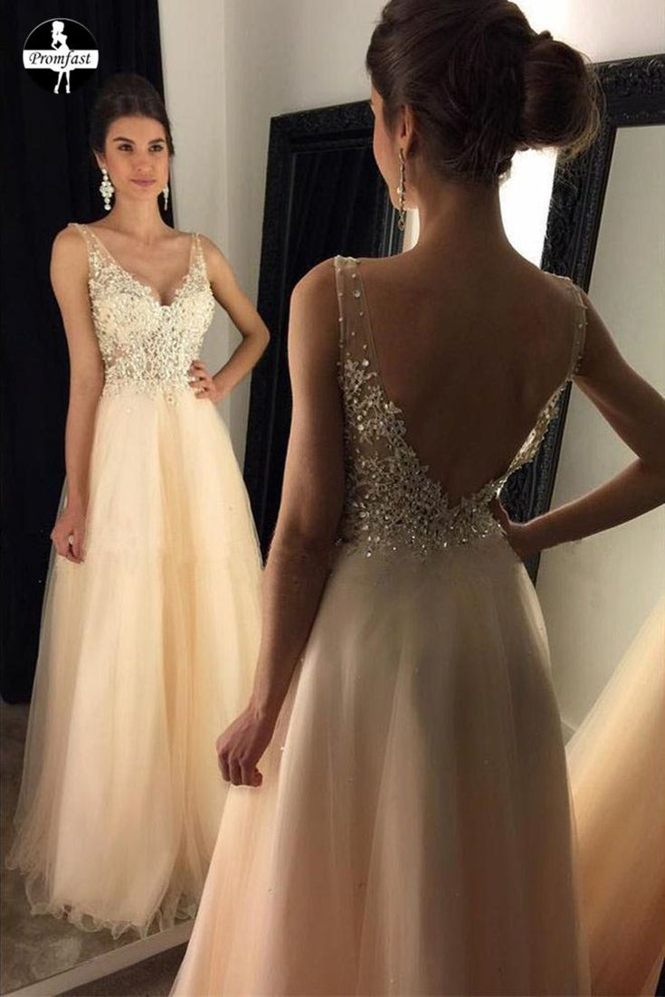 2020 V-Neck Beaded Long A-line Tulle Backless Prom Dresses With Appliques PFP0431. This dress can be made with custom sizes and color. So cheap and so charming. #promdress #promdresslong #beadpromdress #longpromdress #partydress #eveningdress #formaldress #promgown #ballgown #cheappromdress #eveninggown #longformaldress #longpartydress #promgown #formalgown #custompromdress #promfast #alinepromdress #vneckpromdress #backlesspromdress