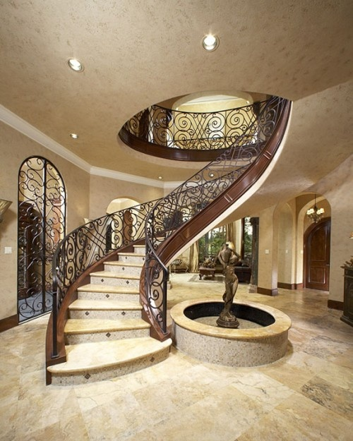 33 Staircase Designs Enriching Modern Interiors With: Circular Stairwell But With Wood Handle. Wood Tread & No